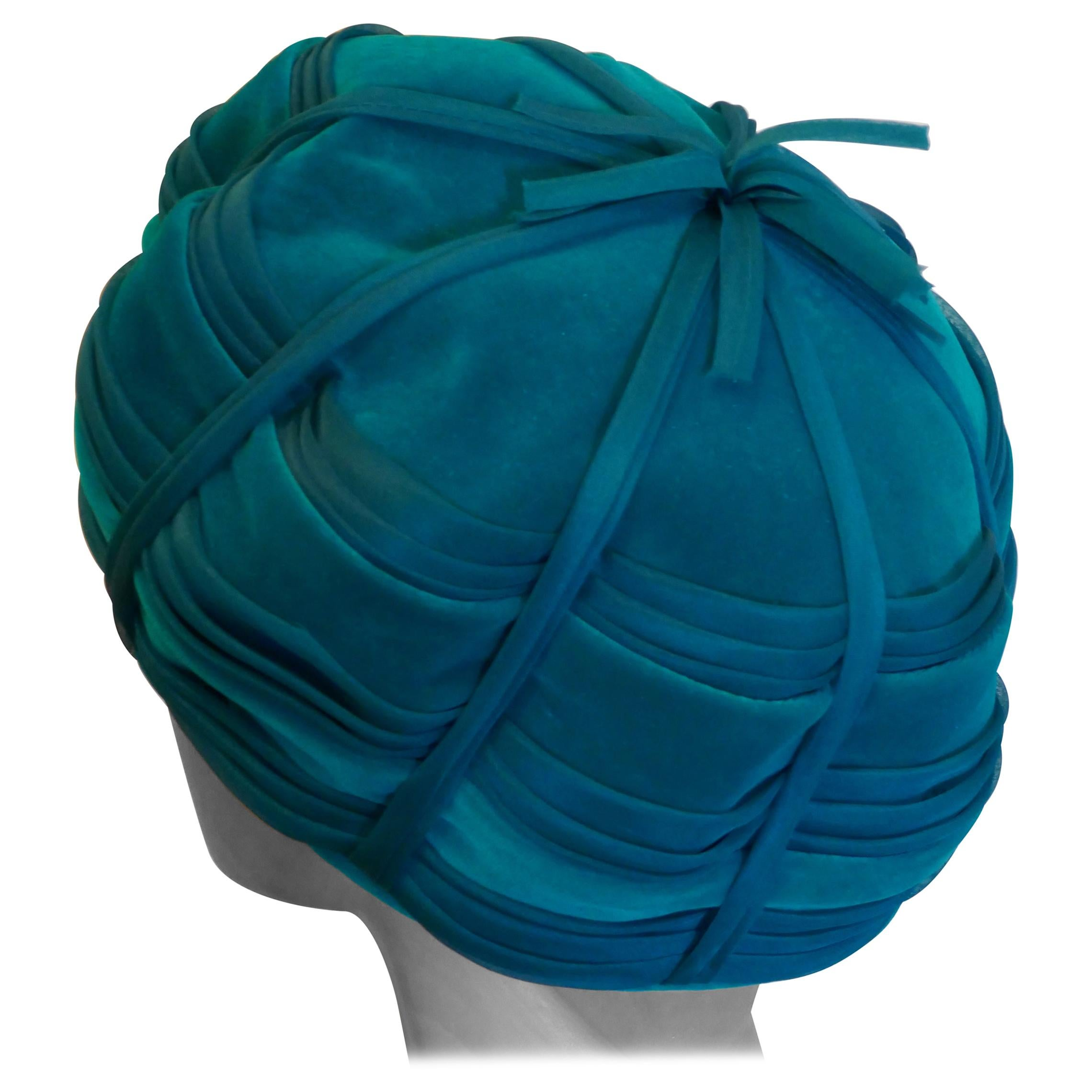 Original 1960s Beret Style Teal Pill Box Hat, Divided Beret