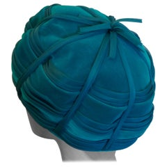Original 1960s Beret Style Teal Pill Box Hat, Divided Beret