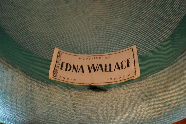 Original 1960s Duck Egg Green Veiled Shiny Panama Hat by Edna Wallace For Sale 5