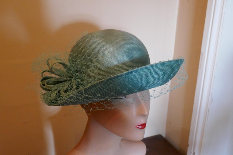 Gray Original 1960s Duck Egg Green Veiled Shiny Panama Hat by Edna Wallace For Sale