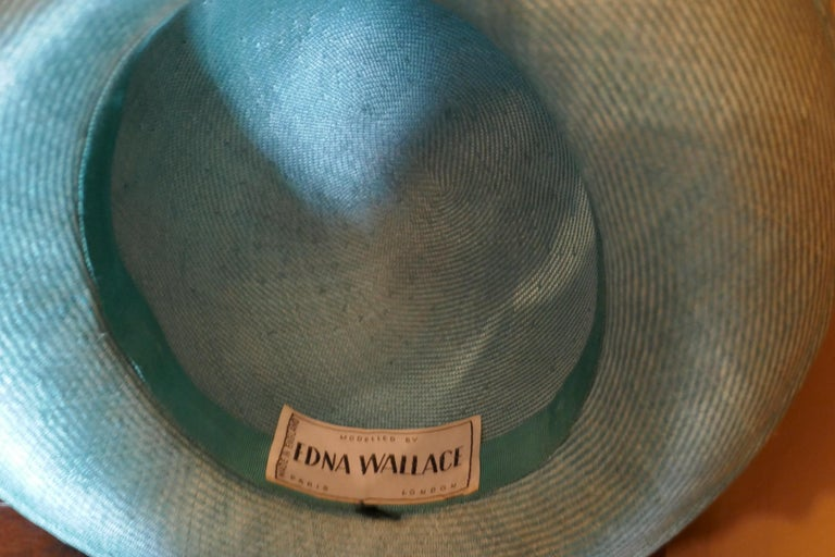 Original 1960s Duck Egg Green Veiled Shiny Panama Hat by Edna Wallace In Good Condition For Sale In Chillerton, Isle of Wight