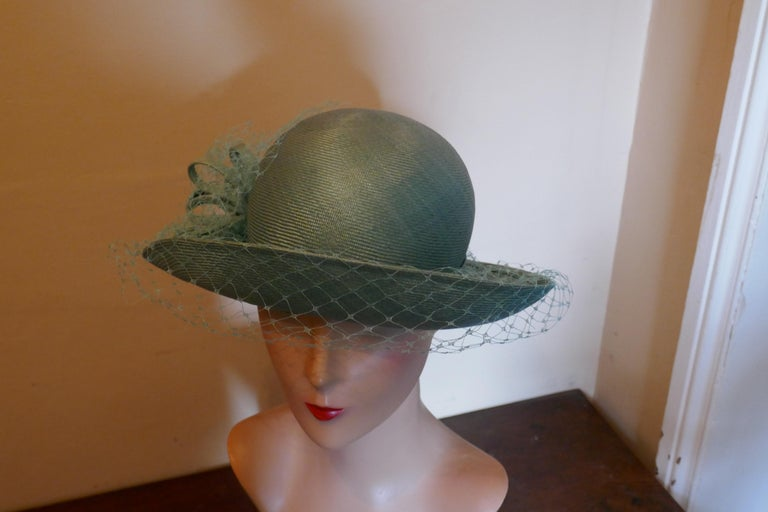 Women's Original 1960s Duck Egg Green Veiled Shiny Panama Hat by Edna Wallace For Sale