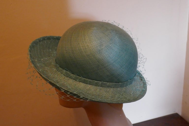 Original 1960s Duck Egg Green Veiled Shiny Panama Hat by Edna Wallace For Sale 1
