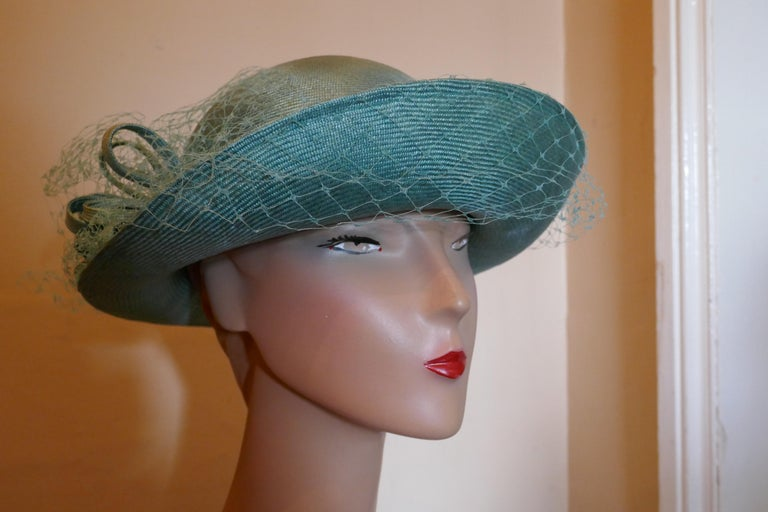 Original 1960s Duck Egg Green Veiled Shiny Panama Hat by Edna Wallace For Sale 3