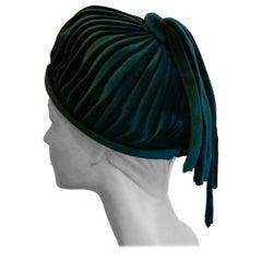 Original 1960s Formal Peacock Blue Velvet Pill Box Hat,