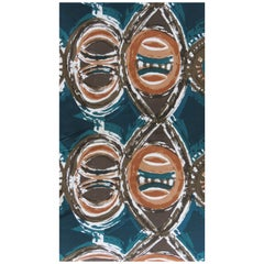 Original 1960 Hand Screen Printed Hull Traders Cotton Totem Fabric New Old Stock