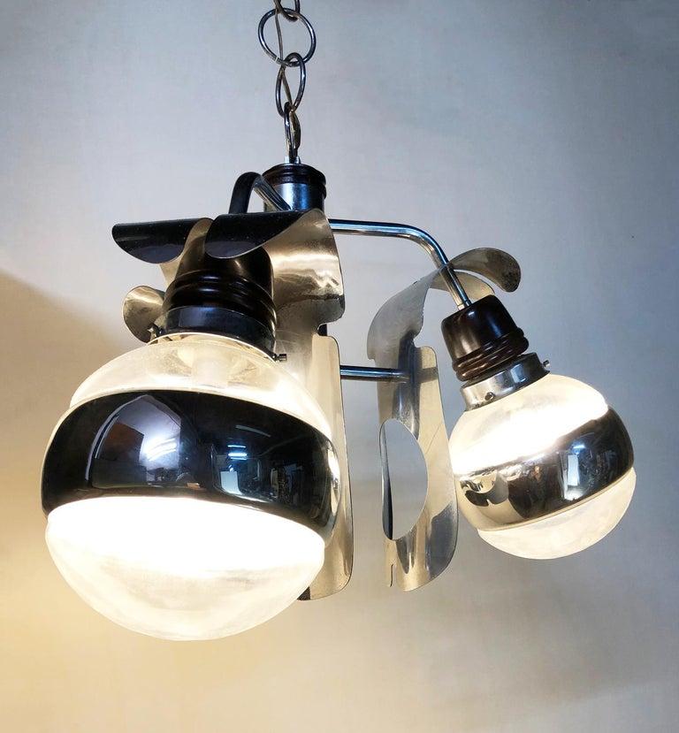 Original 1960s Italian Chrome Chandelier with Three-Light For Sale 6