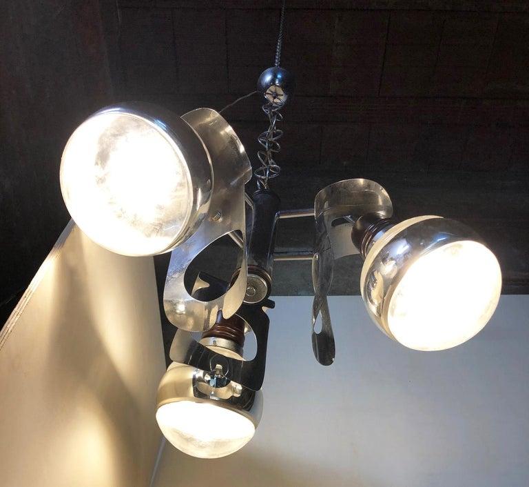 Original 1960s Italian Chrome Chandelier with Three-Light For Sale 7