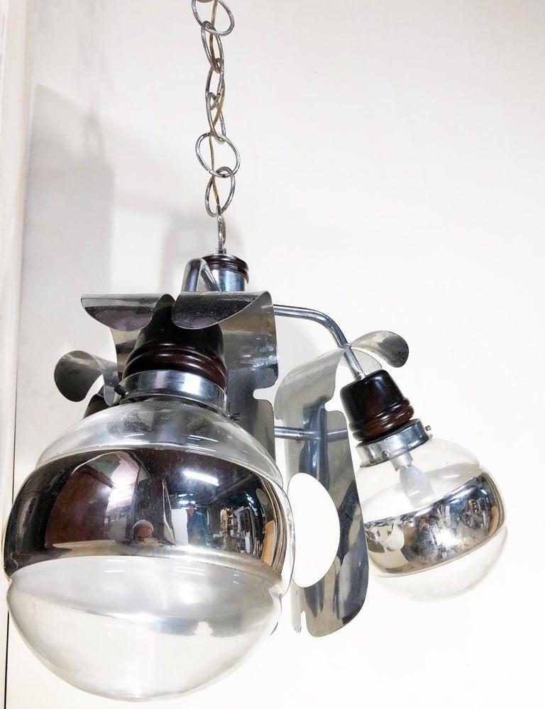 Mid-Century Modern Original 1960s Italian Chrome Chandelier with Three-Light For Sale