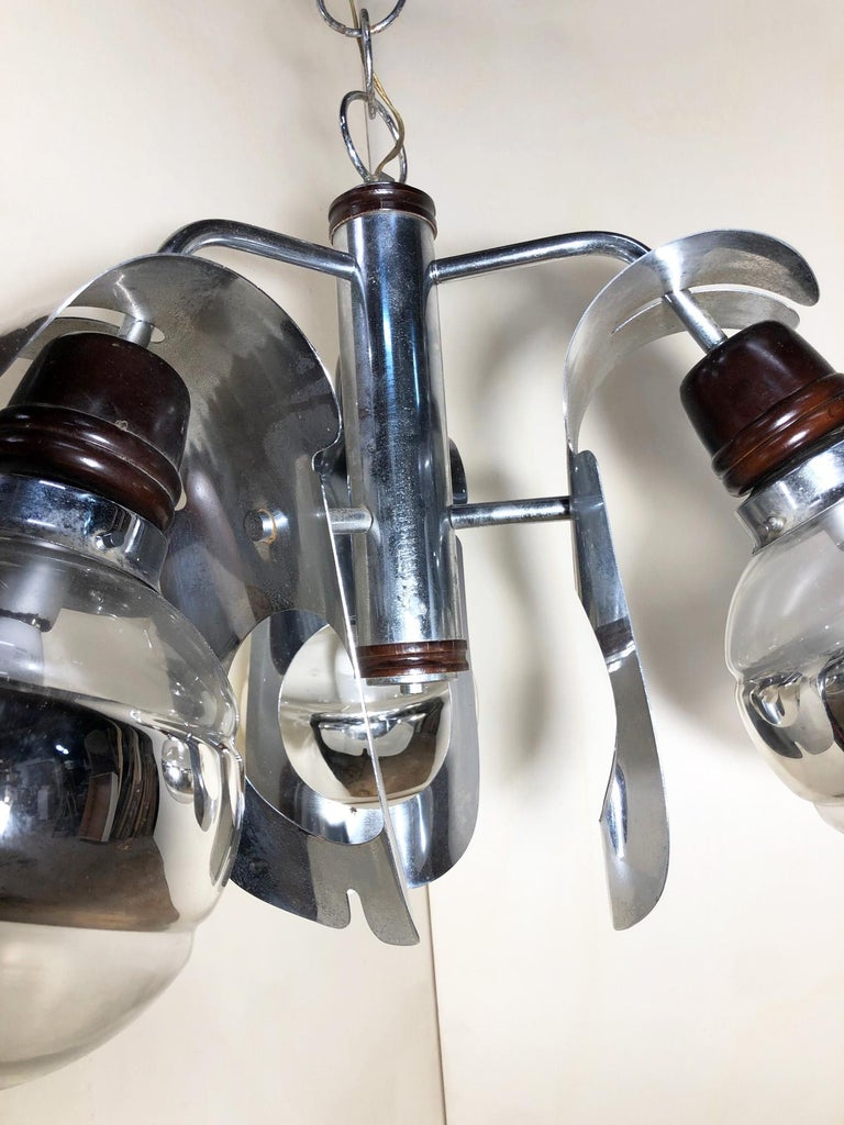 Mid-20th Century Original 1960s Italian Chrome Chandelier with Three-Light For Sale