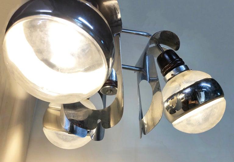 Original 1960s Italian Chrome Chandelier with Three-Light For Sale 3