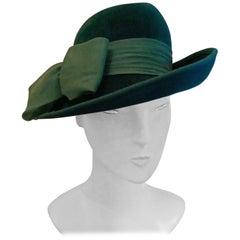 Original 1960s Jaunty Teal Fedora Style Hat