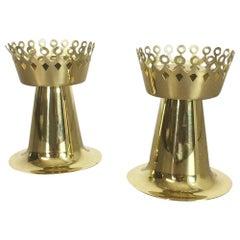 Original 1960s Nos Brass Candleholder Made by Hans-Agne Jakobsson AB, Sweden