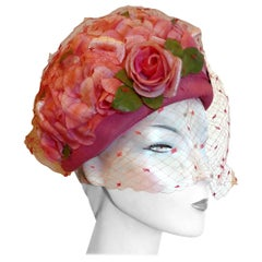 Original 1960s Pink Pill Box Hat, Decorated with Roses and Veil, by Connor