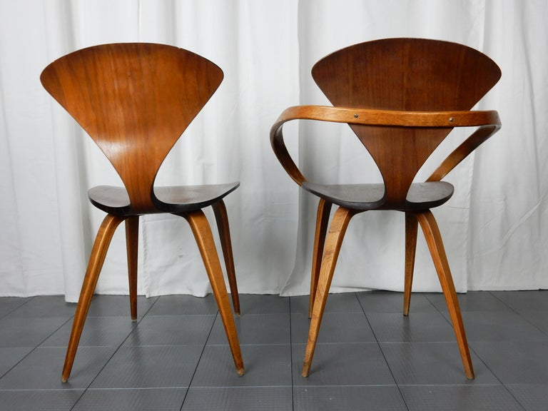 Mid-Century Modern Original 1960s Plycraft Pretzel Side and Armchair by Norman Cherner For Sale