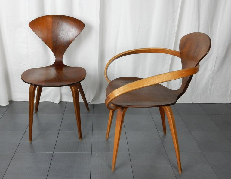 20th Century Original 1960s Plycraft Pretzel Side and Armchair by Norman Cherner For Sale