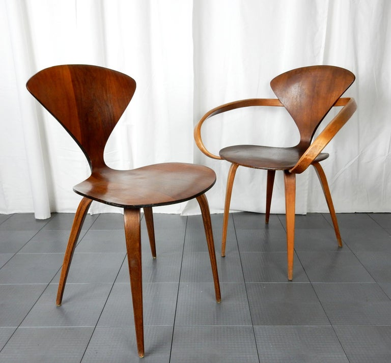 Original 1960s Plycraft Pretzel Side and Armchair by Norman Cherner For Sale 2