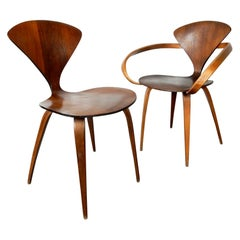 Original 1960s Plycraft Pretzel Side and Armchair by Norman Cherner