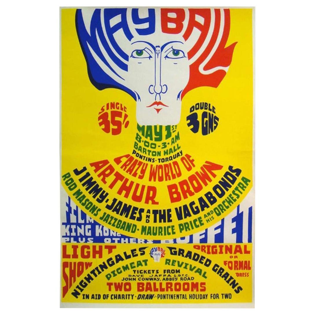 Original 1960s Pontins May Ball Color Music Poster