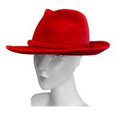 Original 1960s Red Fedora Style Hat designed by Marida