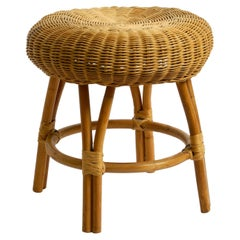 Original 1960s Stool Made of Bamboo Frame and Seat Made of Rattan Wickerwork