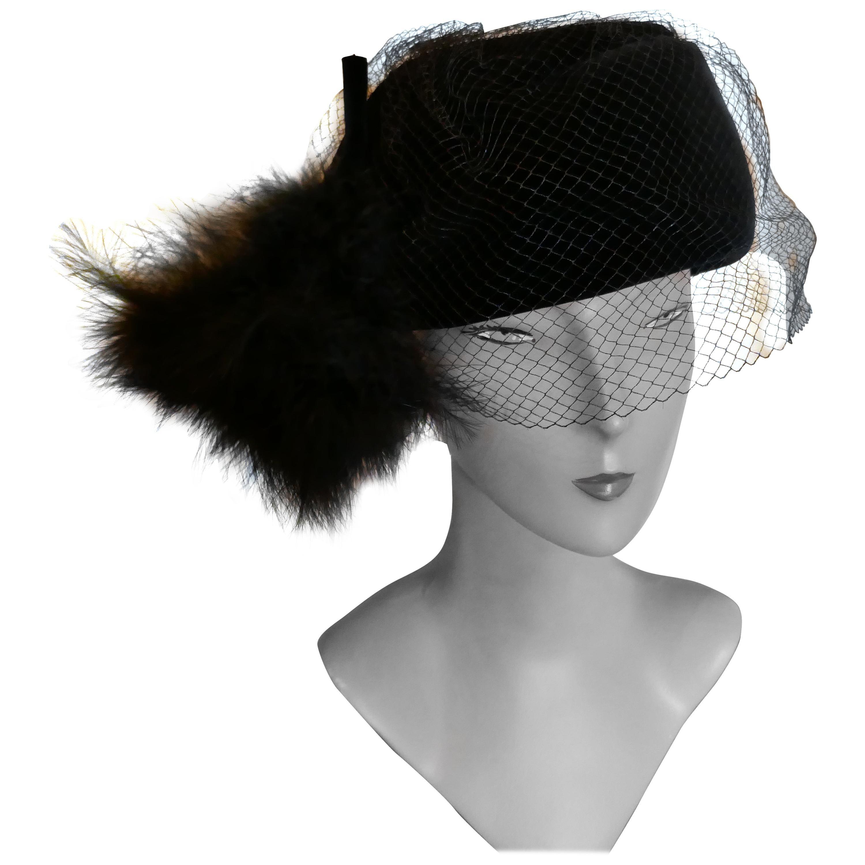 Original 1960s Vintage Black Pill Box Velvet & Feather Veiled Hat