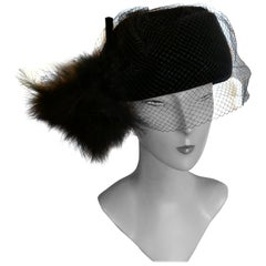 Original 1960s Vintage Black Pill Box Velvet & Feather Veiled Hat