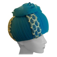 Original 1960s Vintage Designer Turquoise Pill Box Hat