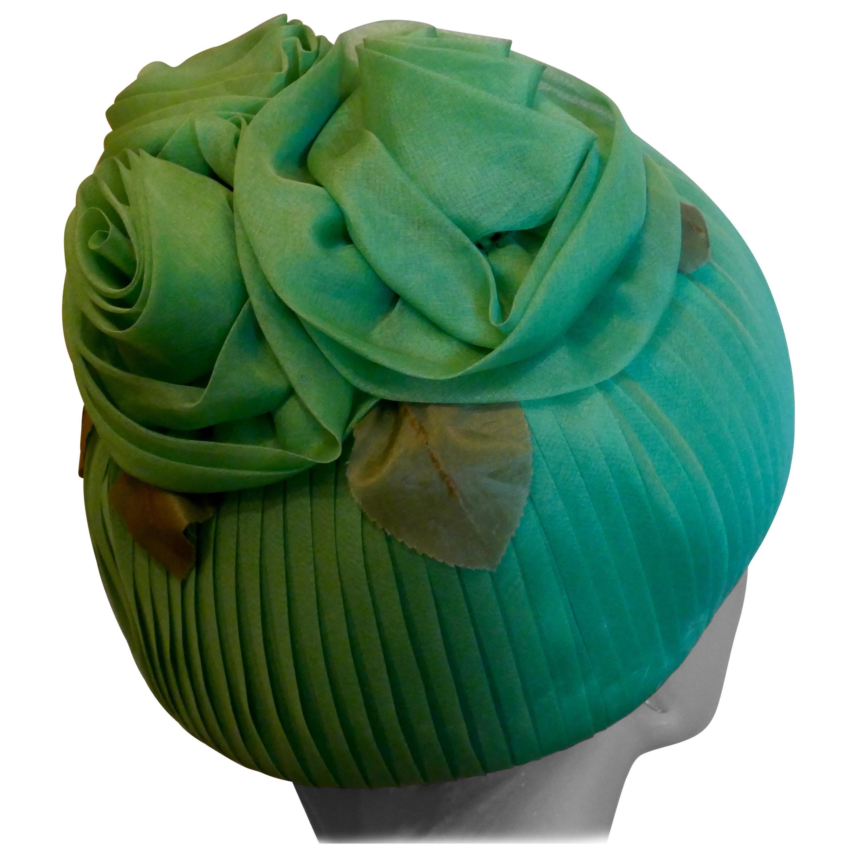 Original 1960s Vintage Gathered Chiffon Green Pill Box Hat