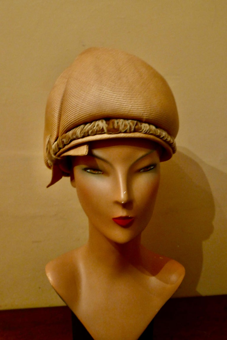 Original 1960s Vintage Pill Box Style High Moulded Straw Fabric Hat with velvet trim  This gorgeous Hat is made in crisp straw fabric, tall with a decorative spiral pleat and gathered velvet decoration  The hat is  Designed by Connor, it is in good