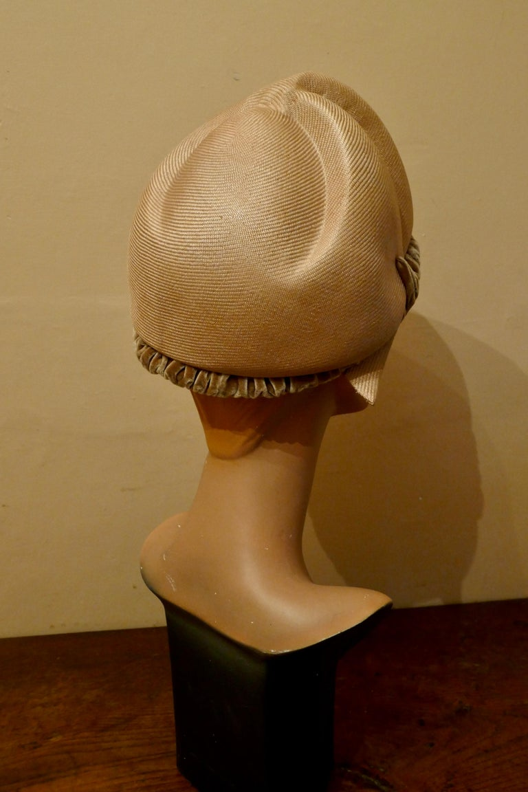 Brown Original 1960s Vintage Pill Box Style High Moulded Straw Fabric Hat with velvet  For Sale