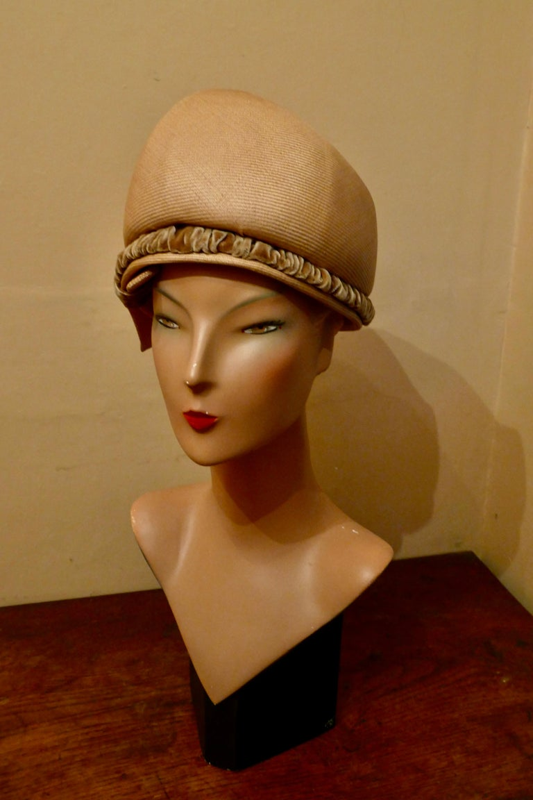 Women's Original 1960s Vintage Pill Box Style High Moulded Straw Fabric Hat with velvet  For Sale