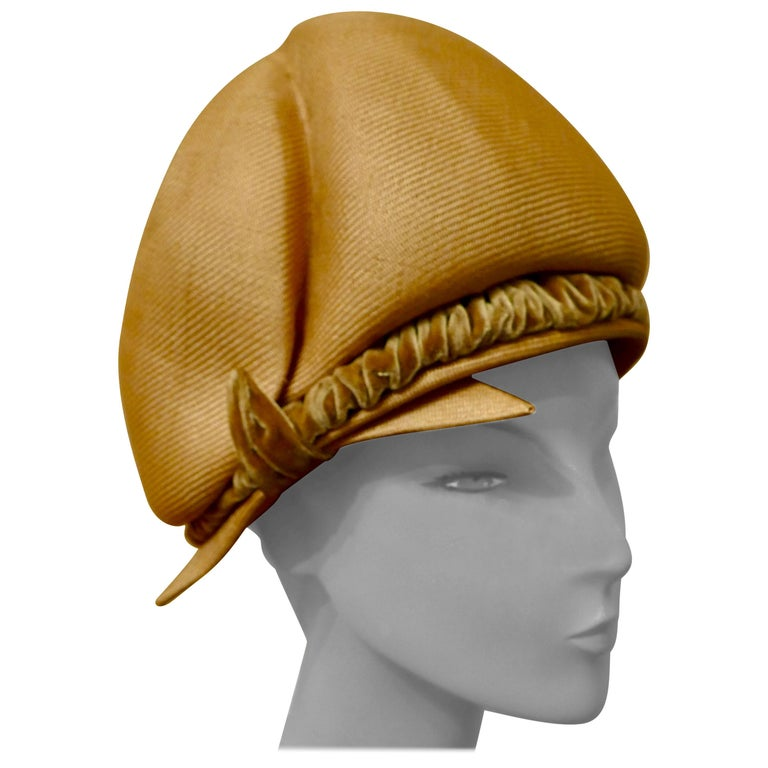 Original 1960s Vintage Pill Box Style High Moulded Straw Fabric Hat with velvet  For Sale