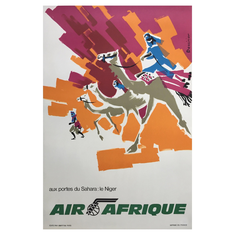 Original 1960s Vintage Travel Airline Air Afrique Poster, Jean Dessirier