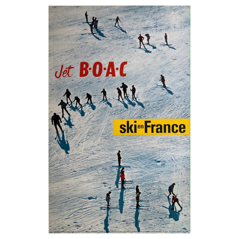 Original 1960s Vintage Travel Airline BOAC Ski Poster