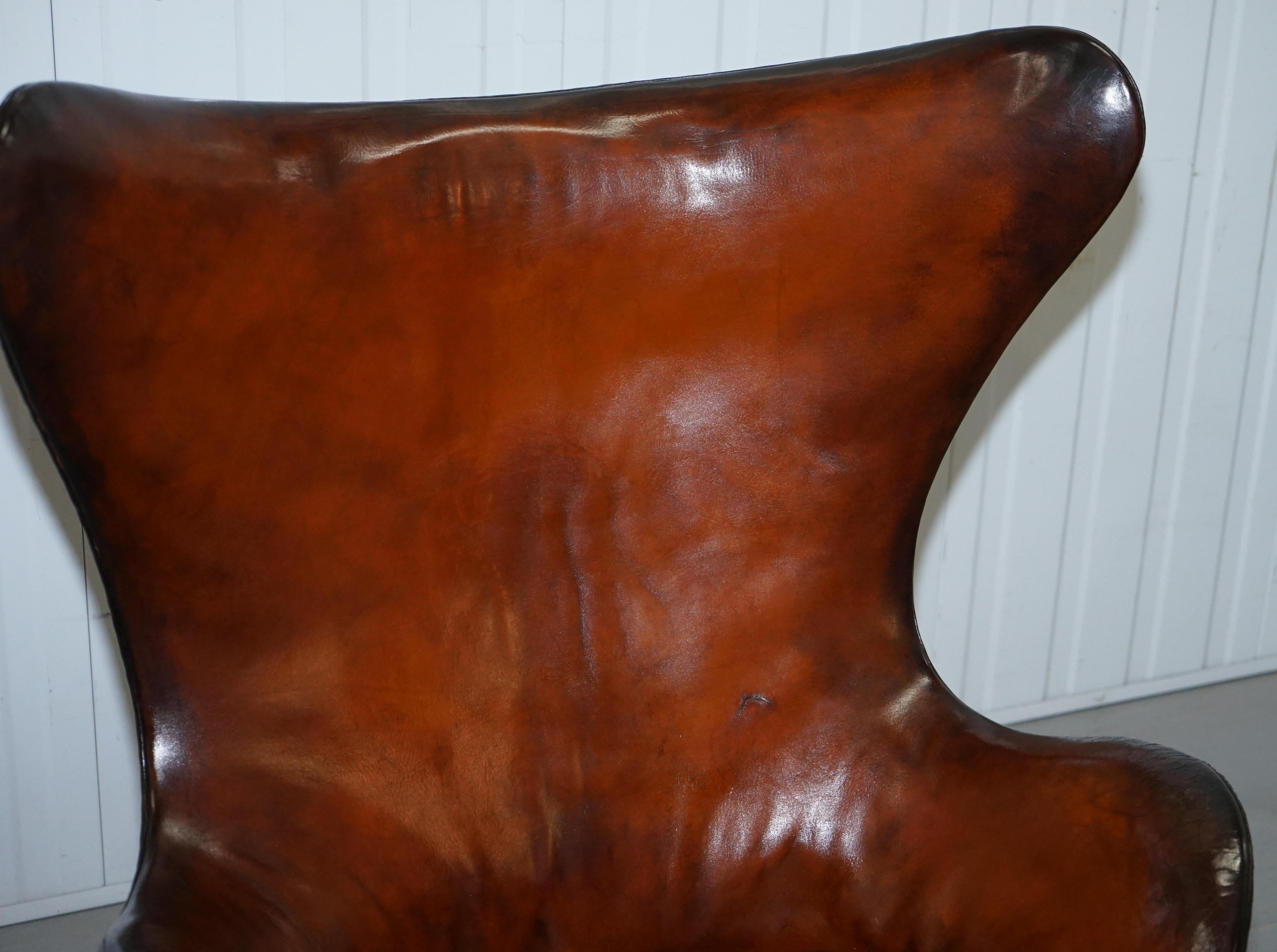 Antiques Original 1963 Fritz Hansen Egg Chair Model Number 3316 Hand Dyed Brown Leather