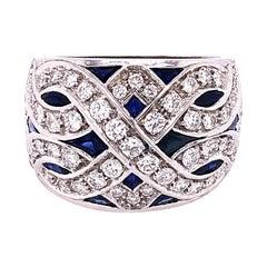 Berca 1965 3.90Kt Natural Blue Sapphire 1.23Kt White Diamond Cocktail Ring