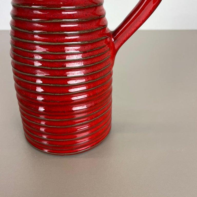 Original 1970 Red Ceramic Studio Pottery Vase by Marei Ceramics, Germany For Sale 2
