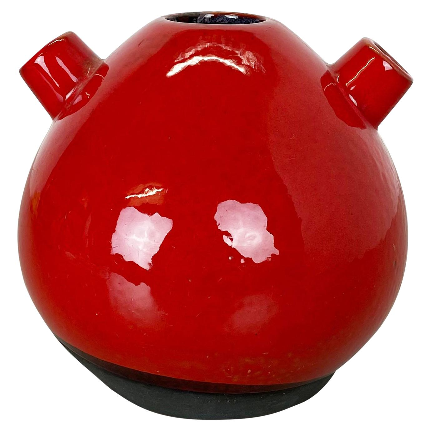 Original 1970 Red Ceramic Studio Pottery Vase by Marei Ceramics, Germany