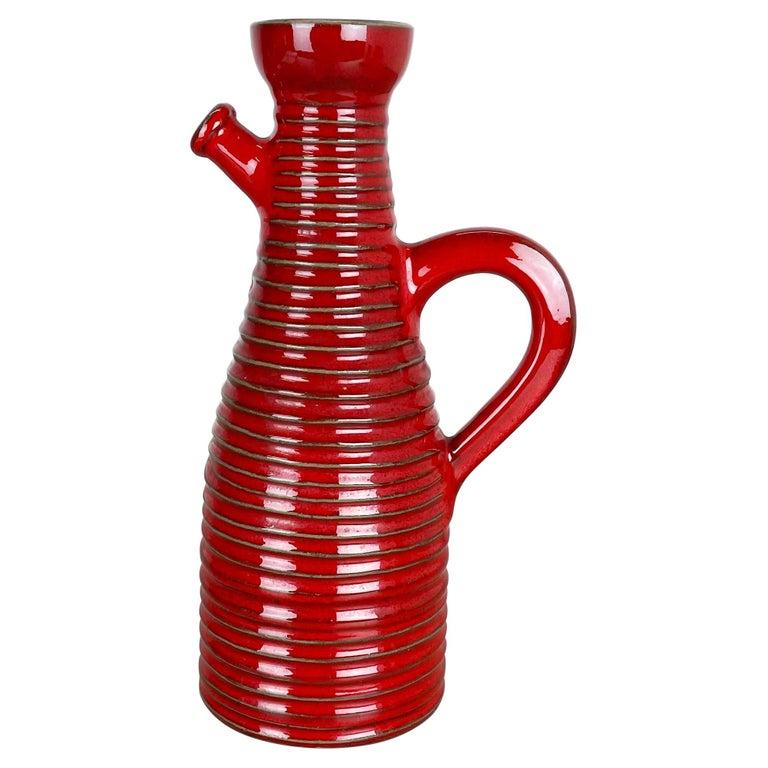 Original 1970 Red Ceramic Studio Pottery Vase by Marei Ceramics, Germany For Sale
