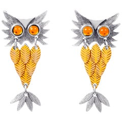 Original 1970s Articulated Owl Clip Earrings