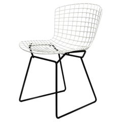 Original 1970s Bertoia Wire Chair by Knoll International in Black and White