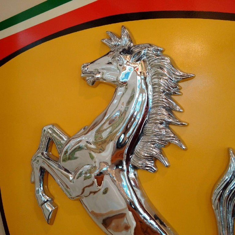 Painted Original 1970s Chromed Bronze Relief of Ferrari's Cavallino Rampante For Sale