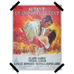 Original 1970s French Gone with the Wind One Sheet Movie Poster Gable Fleming 64