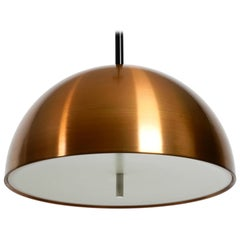 Original 1970s Space Age Staff Pendant Lamp with Copper Shade in Mint Condition
