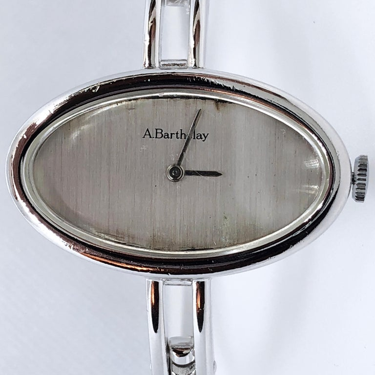 Original 1972 Alexis Barthelay Hand-Wound Movement Sterling Silver Watch 5