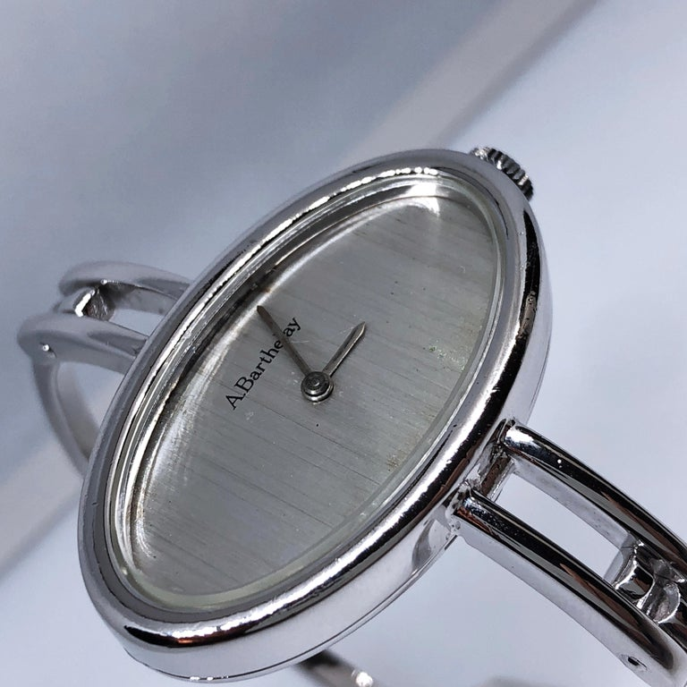 Original 1972 Alexis Barthelay Hand-Wound Movement Sterling Silver Watch 7