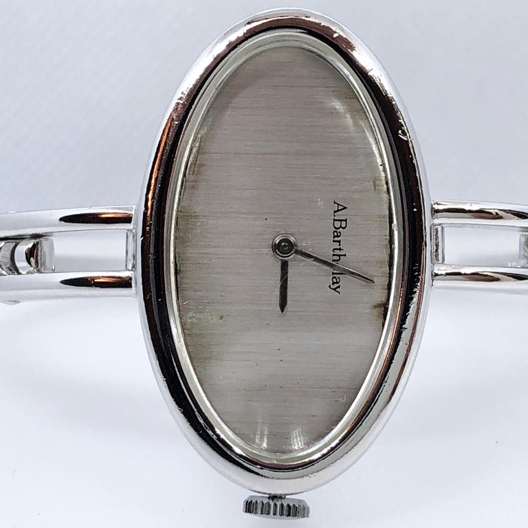 Original 1972 Alexis Barthelay Hand-Wound Movement Sterling Silver Watch 8