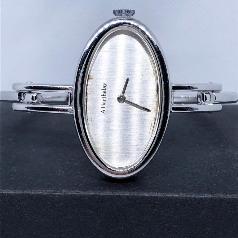 Original 1972 Alexis Barthelay Hand-Wound Movement Sterling Silver Watch 9