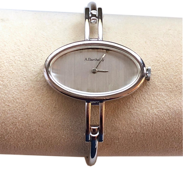 Modern Original 1972 Alexis Barthelay Hand-Wound Movement Sterling Silver Watch